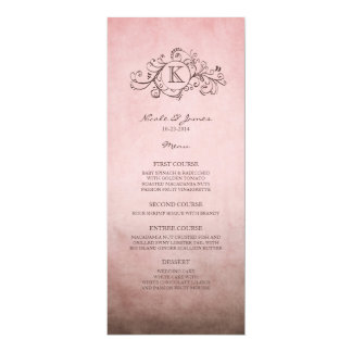 Rustic Brown and Pink Bohemian Wedding Menu Card