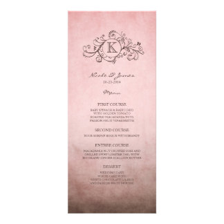 Rustic Brown and Pink Bohemian Wedding Menu Personalized Invite