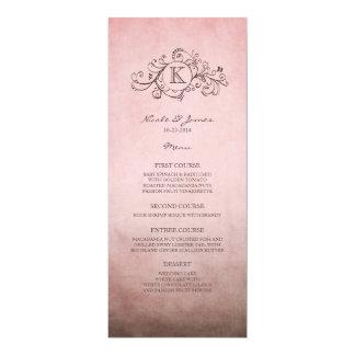 Rustic Brown and Pink Bohemian Wedding Menu Personalized Invite
