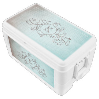 Rustic Brown and Teal Bohemian Flourish Chest Cooler