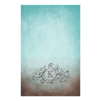Rustic Brown and Teal Bohemian  Flourish Stationery