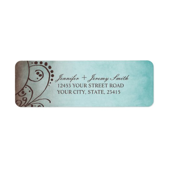 Rustic Brown and Teal Bohemian Return Address Label