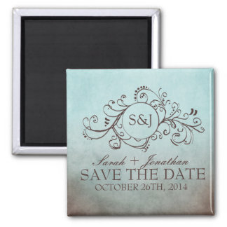 Rustic Brown and Teal Bohemian Save The Date 2 Inch Square Magnet