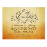 Rustic Brown and Teal Bohemian Save The Date Postcards