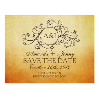 Rustic Brown and Teal Bohemian Save The Date Postcard