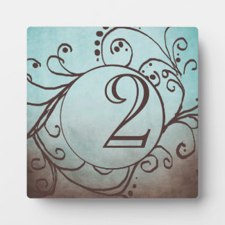Rustic Brown and Teal Bohemian Table Number Photo Plaques