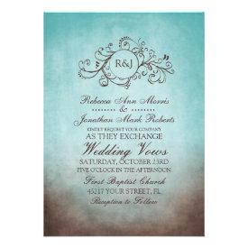 Rustic Brown and Teal Bohemian Wedding Invitation