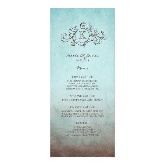 Rustic Brown and Teal Bohemian Wedding Menu Card