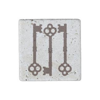Rustic brown antique key design stone magnet