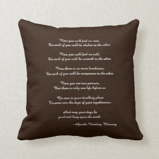 Rustic Brown Apache Blessing Wedding Gift Throw Pillow