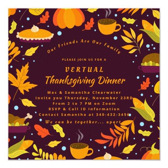 Rustic Brown Autumn Virtual Thanksgiving Dinner Invitation