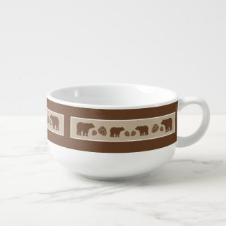Rustic brown beige bear pinecone soup bowl soup bowl with handle