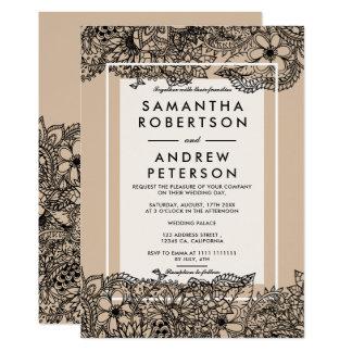 Rustic brown beige elegant floral wedding invitation