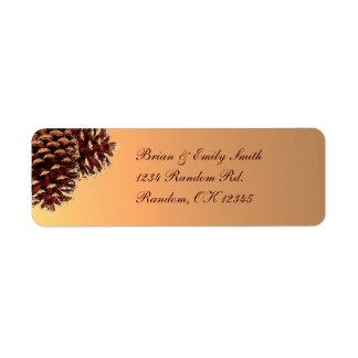 Rustic brown beige pine cone custom labels