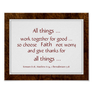 Rustic Brown Bible Scripture Encouragement Quotes Poster
