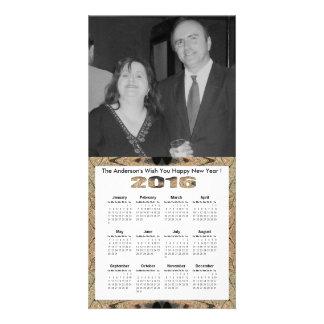 Rustic Brown Black Pattern 2016 yearly calendar Card