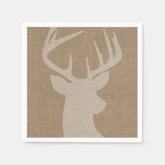 Rustic Brown Burlap Deer Buck Napkin