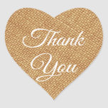 Rustic Brown Burlap Thank You  Heart Sticker