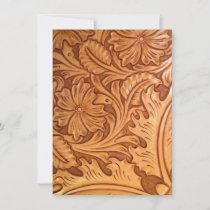 Rustic brown cowboy fashion western leather thank you card