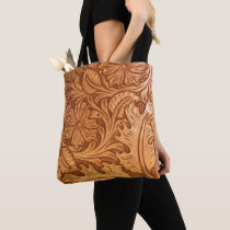 Rustic brown cowboy fashion western leather tote bag