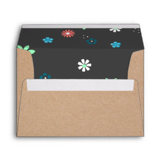 Rustic Brown Craft Paper and Flowers Envelope