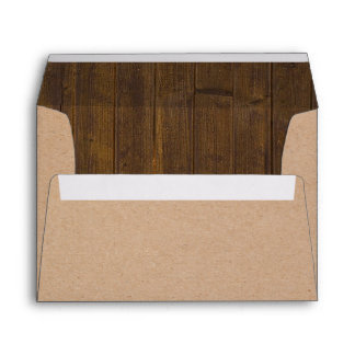 Rustic Brown Craft Paper and Wood Look Envelope