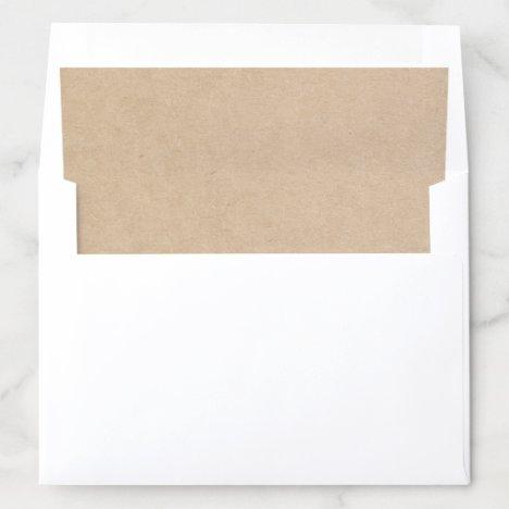 Rustic Brown Faux Kraft Paper Country Wedding Envelope Liner