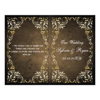 Rustic, brown gold regal bookfold Wedding program Flyer Design