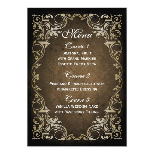 rustic brown gold regal wedding menu 5x7