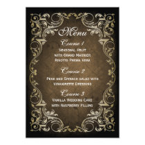 rustic brown gold regal wedding menu card
