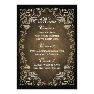 rustic brown gold regal wedding menu personalized invitations