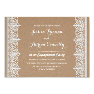 Rustic Brown Kraft Paper Lace Engagement Party Card