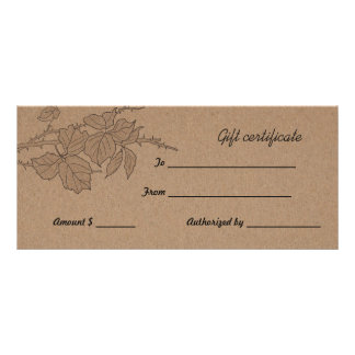 Rustic Brown Kraft Paper Leaves Gift Certificate