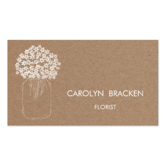 Rustic Brown Kraft Paper Mason Jar Flowers Double-Sided Standard Business Cards (Pack Of 100)