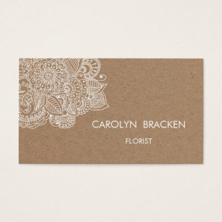 Rustic Brown Kraft Paper Paisley Doodle Business Card