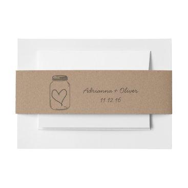 Valentines Themed Rustic Brown Kraft Paper Pattern Mason Jar Heart Invitation Belly Band