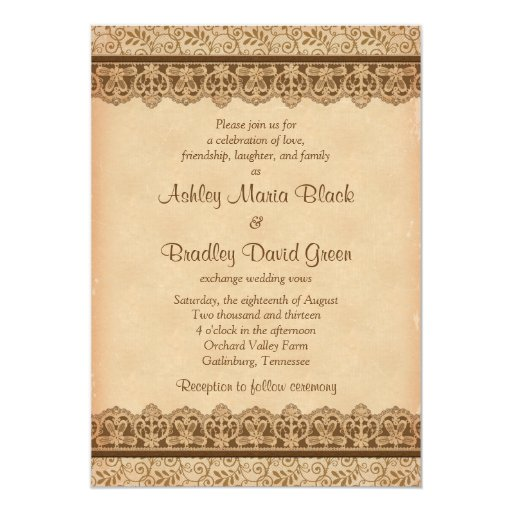 Rustic Brown Lace Parchment Look Wedding 5x7 Paper Invitation Card