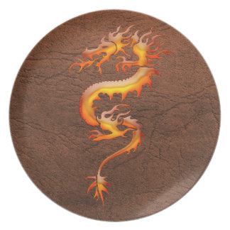 Rustic Brown Leather & Orange Dragon Design Plate