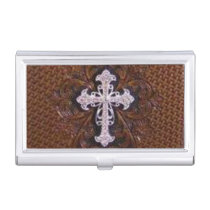 rustic brown leather western country cross business card case