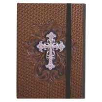 rustic brown leather western country cross case for iPad air