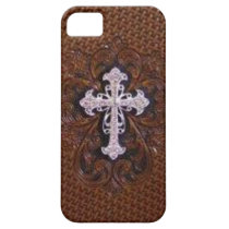rustic brown leather western country cross iPhone SE/5/5s case