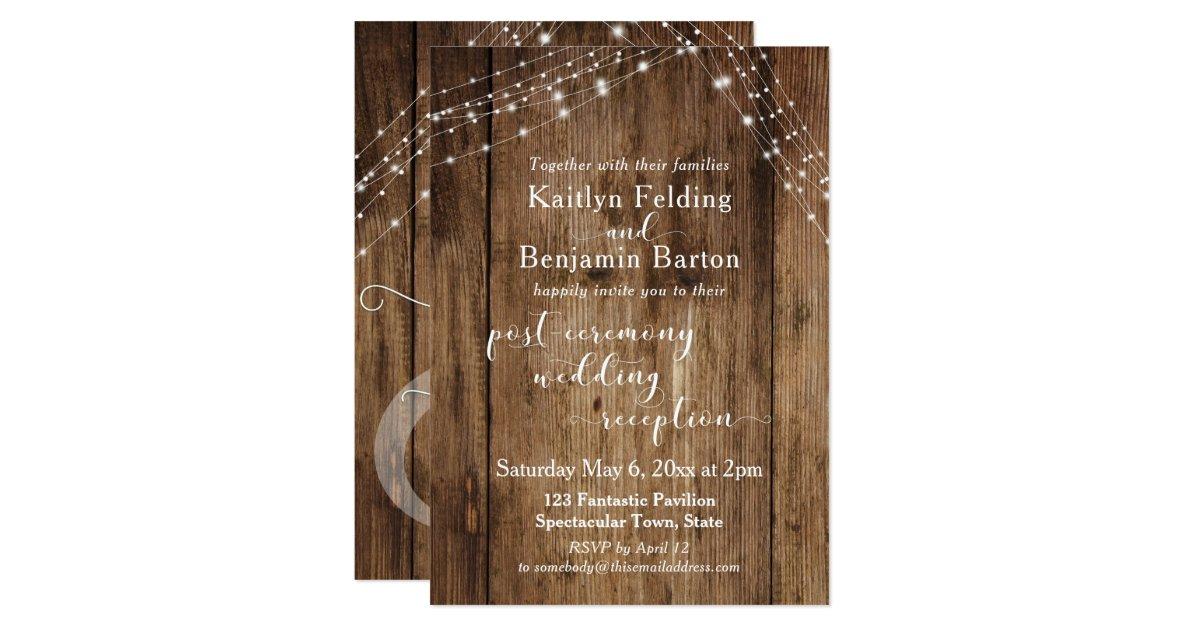 Post Wedding Invitations Reception: Rustic Brown & Lights Post-Wedding Reception Only