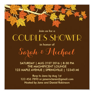 Rustic Brown Maple Leaves Fall Wedding Invitation