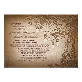 Rustic brown mason jars tree wedding invitations