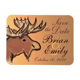Rustic brown moose Save the Date custom magnet