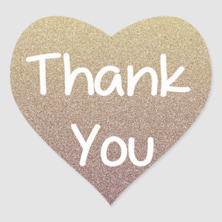 Rustic Brown Ombre Heart Thank You Sticker / Label