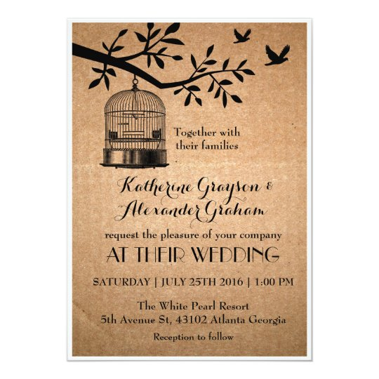 Where To Buy Wedding Invitation Paper: Rustic Brown Paper Bird Cage Wedding Invitation