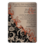 Rustic Brown Paper Damask Tangerine Swirls Personalized Invites