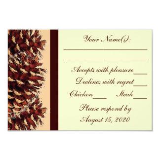 "Rustic brown peach pine cone wedding RSVP cards 3.5"" X 5"" Invitation Card"