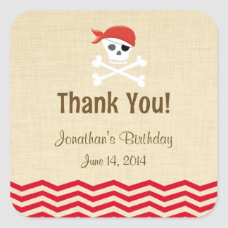 Rustic Brown Pirate Birthday Stickers